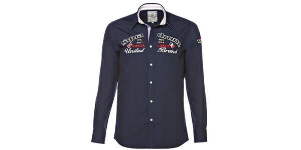 Pánská tmavě modrá košile s výšivkami M. Conte