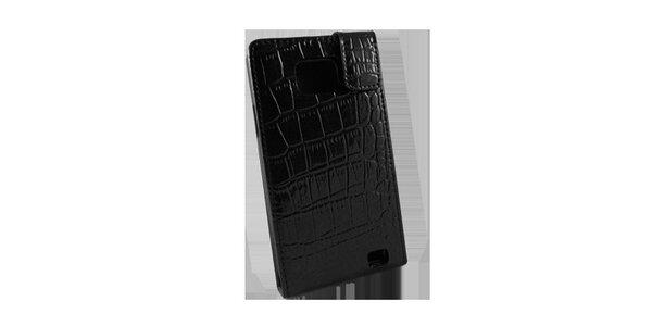 Černé pouzdro na Samsung i9100 Galaxy S2 v efektu krokodýlí kůže