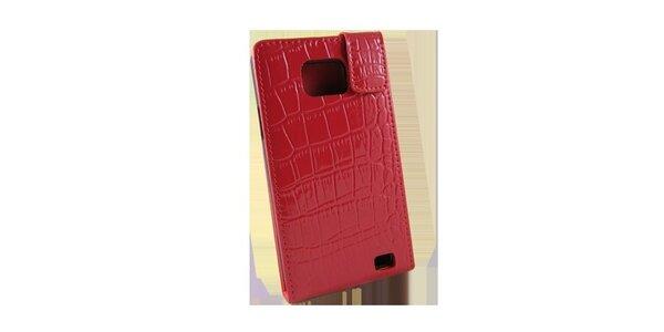 Červené pouzdro na Samsung i9100 Galaxy S2 v efektu krokodýlí kůže