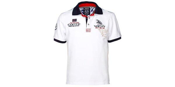 Pánské bílé polo triko s výšivkami M. Conte