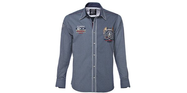 Pánská modrobílá košile s drobným potiskem M. Conte