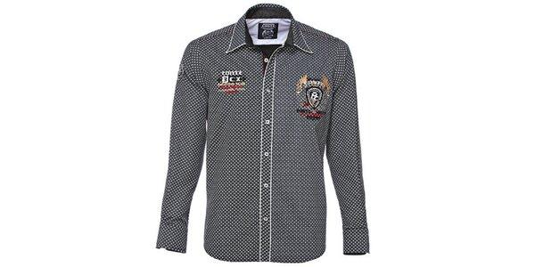 Pánská černobílá košile s drobným potiskem M. Conte