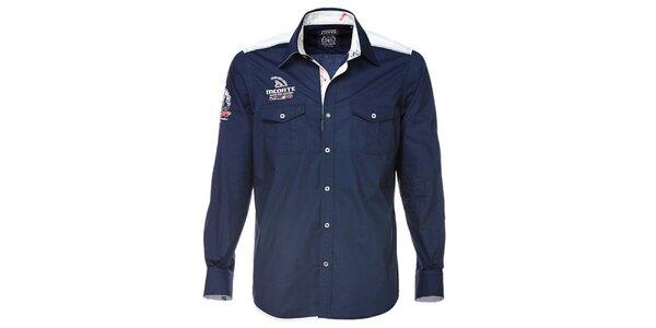 Pánská tmavě modrá košile s bílými detaily M. Conte