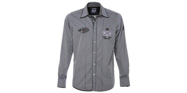 Pánská černobíle pruhovaná košile M. Conte