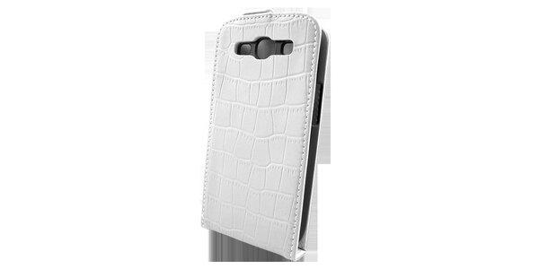 Bílé pouzdro na Samsung i9300 Galaxy S3 v efektu krokodýlí kůže