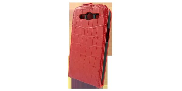 Červené pouzdro na Samsung i9300 Galaxy S3 v efektu krokodýlí kůže