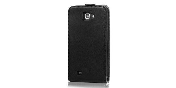 Luxusní černé kožené pouzdro na Samsung Galaxy Note i9220