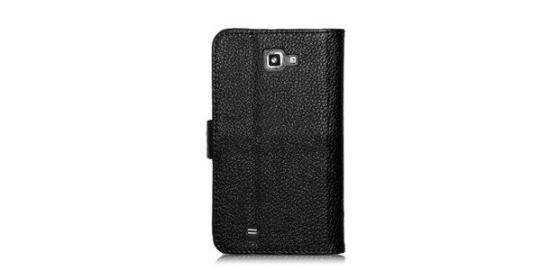 Luxusní černé pouzdro na Samsung Galaxy Note i9220 v efektu krokodýlí kůže