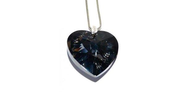 Dámský stříbrný náhrdelník Swarovski s černým srdcem
