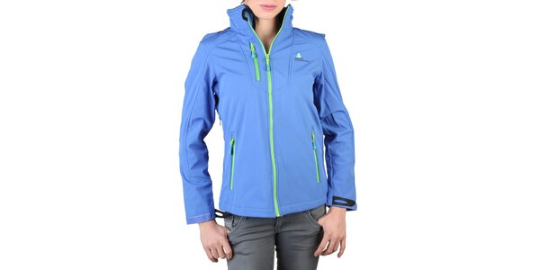 Dámská modrá bunda se zelenými zipy Peak Mountain