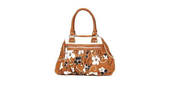 Retro kabelka značky Doca v hnědé barvě s květinovým vzorem