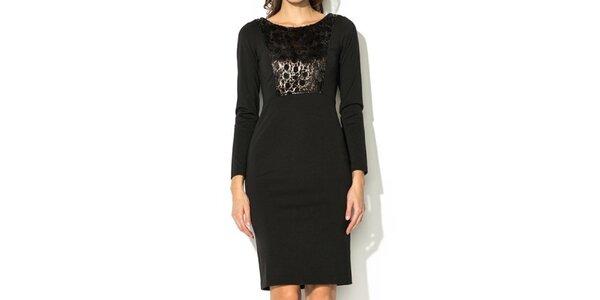 Dámské černé šaty s lesklým dílem Eccentrica