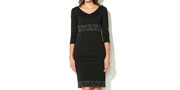Dámské černé šaty se vzorovaným lemem Eccentrica
