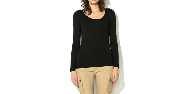 Dámské černé triko s dlouhým rukávem Eccentrica