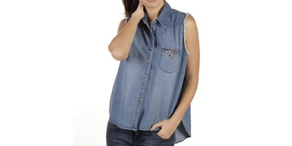 Dámská volná džínová košile bez rukávů New Caro