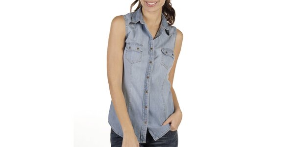 Dámská světlá džínová košile bez rukávů New Caro
