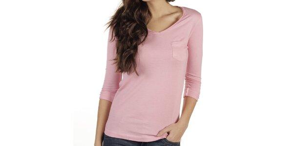Dámské růžové triko s dlouhým rukávem New Caro