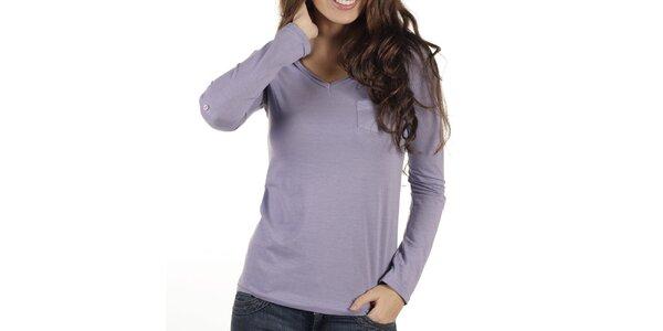 Dámské fialové triko s dlouhým rukávem New Caro