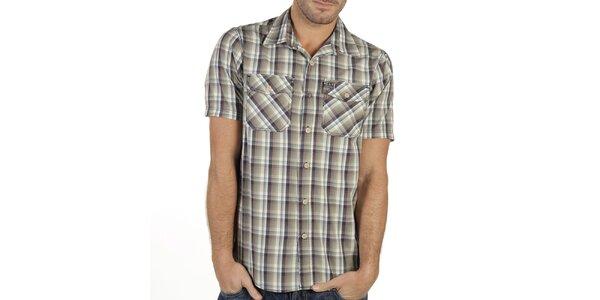 Pánská barevně károvaná košile s krátkým rukávem New Caro