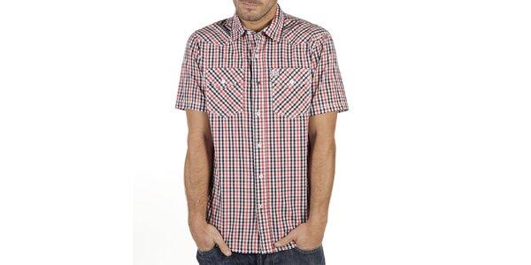 Pánská červeno-černo-bílá kostkovaná košile s krátkým rukávem New Caro