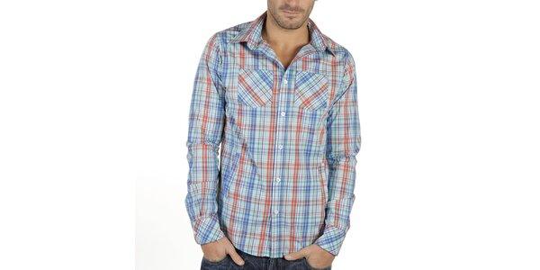 Pánská modrá košile s kostkovaným vzorem New Caro