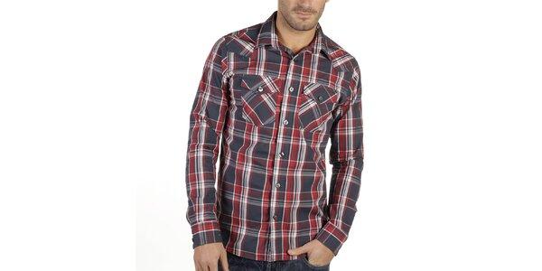Pánská kostkovaná košile s červenými proužky New Caro