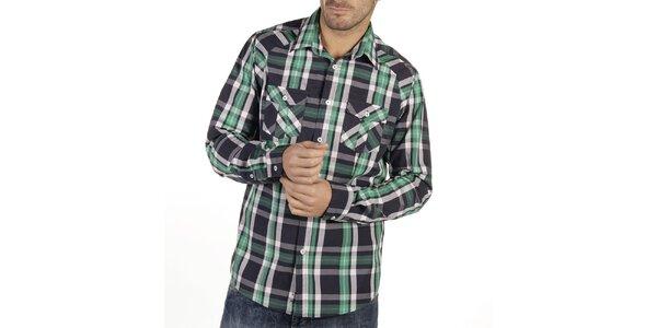 Pánská kostkovaná košile se zelenými proužky New Caro