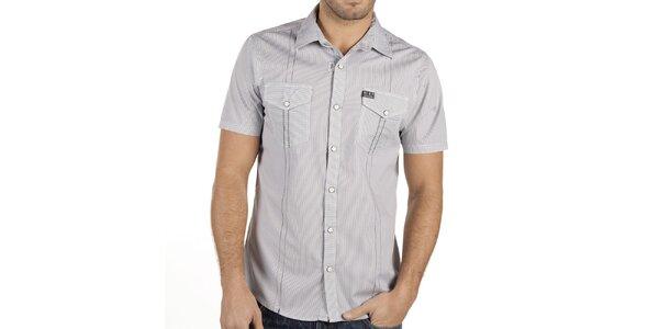 Pánská pruhovaná košile s patentkovým zapínáním New Caro