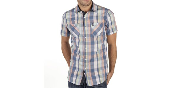 Pánská barevně kostkovaná košile s krátkým rukávem New Caro