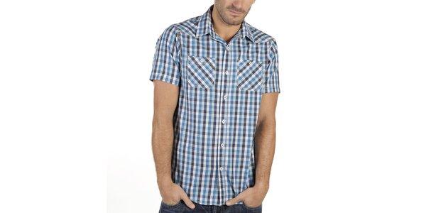 Pánská modrá károvaná košile s krátkým rukávem New Caro
