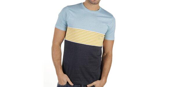 Pánské modré tričko se žlutými proužky New Caro