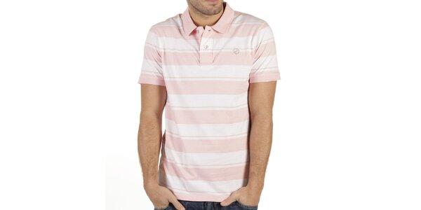 Pánské růžovo-bílé polo triko New Caro