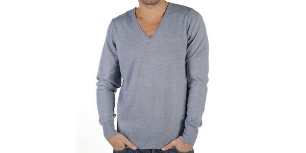 Pánský modrošedý svetr s véčkovým výstřihem New Caro