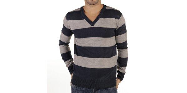 Pánský pruhovaný svetr s žebrováním New Caro