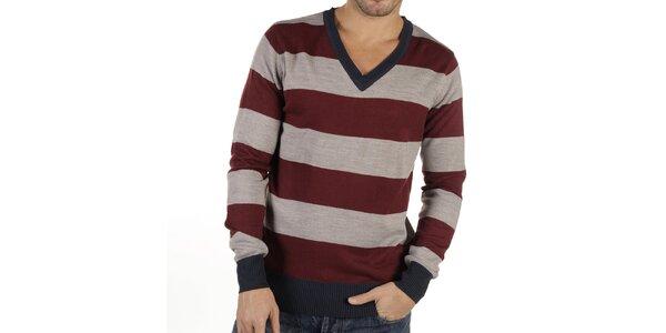 Pánský pruhovaný svetr s véčkovým výstřihem New Caro