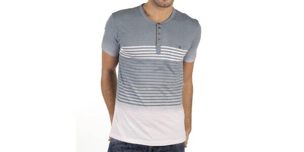 Pánské šedo-bílé tričko s proužky New Caro