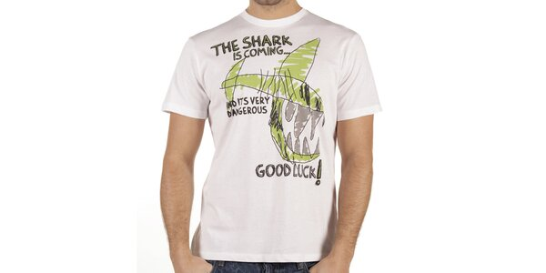 Pánské bílé tričko se žraločím vtipem New Caro