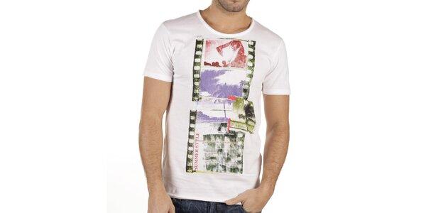 Pánské bílé tričko s barevným potiskem New Caro