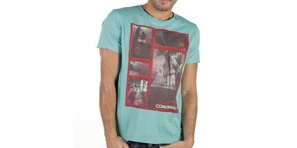 Pánské mátově zelené tričko s potiskem New Caro