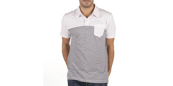 Pánské bílé polo triko s tmavými proužky New Caro