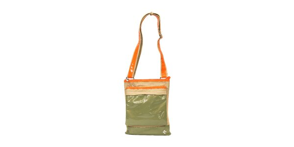 Menší sportovní kabelka značky Doca v béžové a khaki kombinaci barev