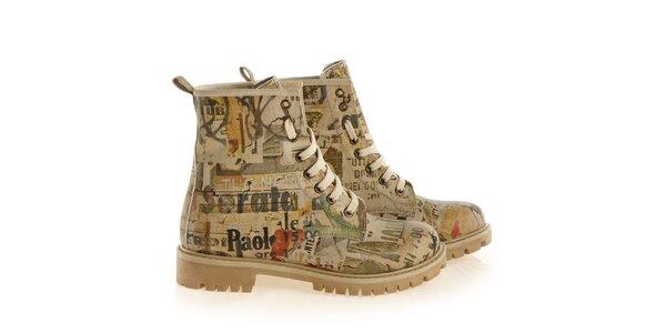 Dámské kotníkové šněrovací boty s neotřelým potiskem Elite Goby