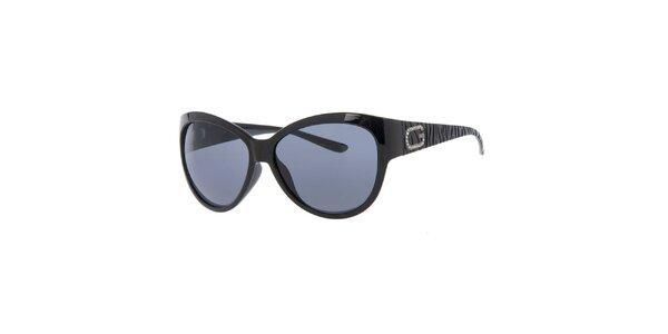 Dámské černé sluneční brýle s dekorací na stranicích Guess