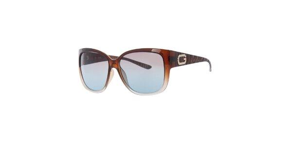 Dámské hnědé sluneční brýle s dekorací na stranicích Guess