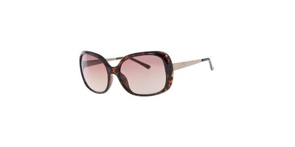 Dámské žíhané oválné sluneční brýle Guess