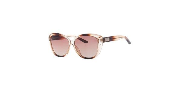 Dámské hnědě transparentní sluneční brýle Guess