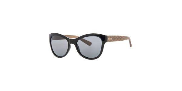 Dámské černé sluneční brýle se vzorovanými stranicemi Guess