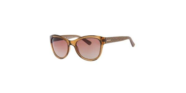 Dámské hnědé sluneční brýle se vzorovanými stranicemi Guess