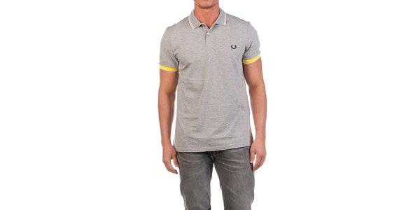 Pánské šedé polo tričko se žlutými detaily Fred Perry