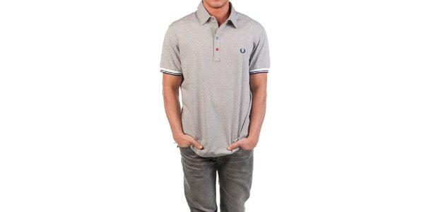 Pánské šedé polo triko s barevnými knoflíčky Fred Perry